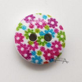 Plastknapp Flower 0004 Rosa, Grön, Blå 13mm